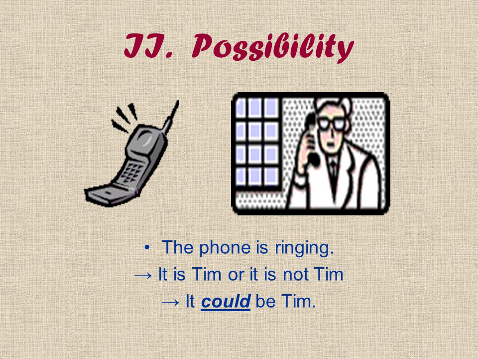 II. Possibility The phone is ringing. → It is Tim or it is not Tim → It could be Tim.
