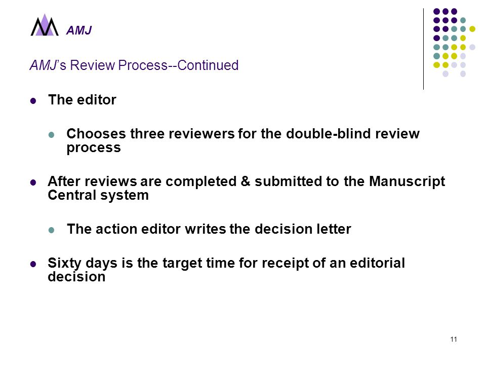 AMJ 11 AMJ's Review Process--Continued The editor Chooses three reviewers for the double-blind review process After reviews are completed & submitted to the Manuscript Central system The action editor writes the decision letter Sixty days is the target time for receipt of an editorial decision