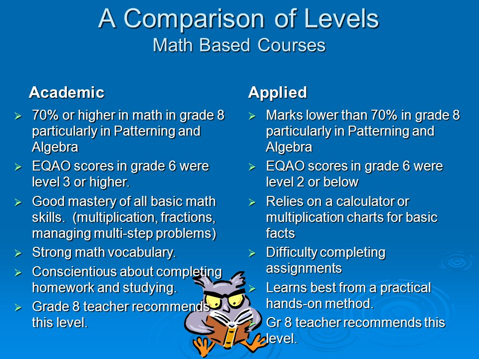 A Comparison of Levels Math Based Courses  Marks lower than 70% in grade 8 particularly in Patterning and Algebra  EQAO scores in grade 6 were level 2 or below  Relies on a calculator or multiplication charts for basic facts  Difficulty completing assignments  Learns best from a practical hands-on method.