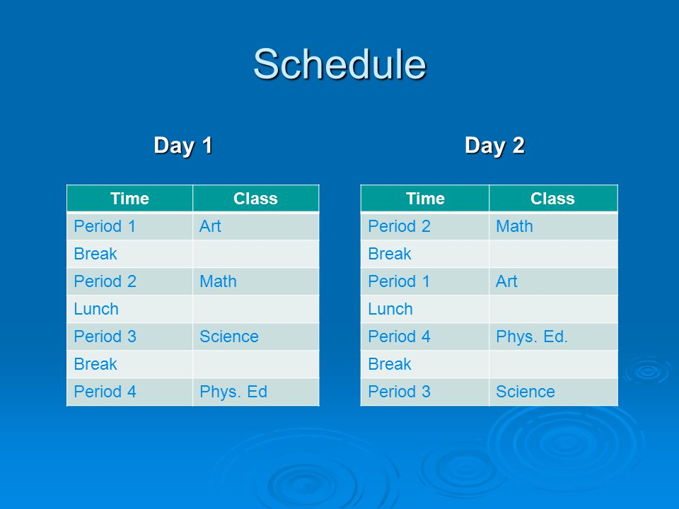Schedule Day 1 TimeClass Period 1Art Break Period 2Math Lunch Period 3Science Break Period 4Phys.