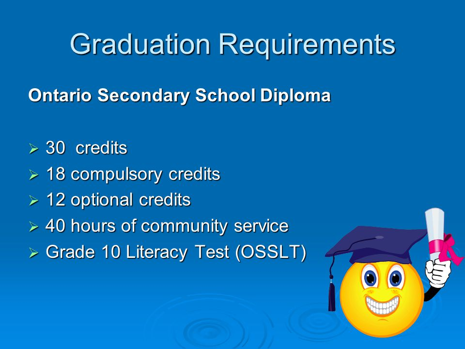 Graduation Requirements Ontario Secondary School Diploma  30 credits  18 compulsory credits  12 optional credits  40 hours of community service  Grade 10 Literacy Test (OSSLT)