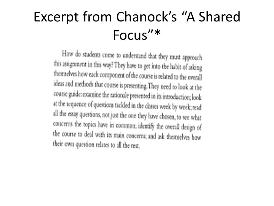 Excerpt from Chanock's A Shared Focus *