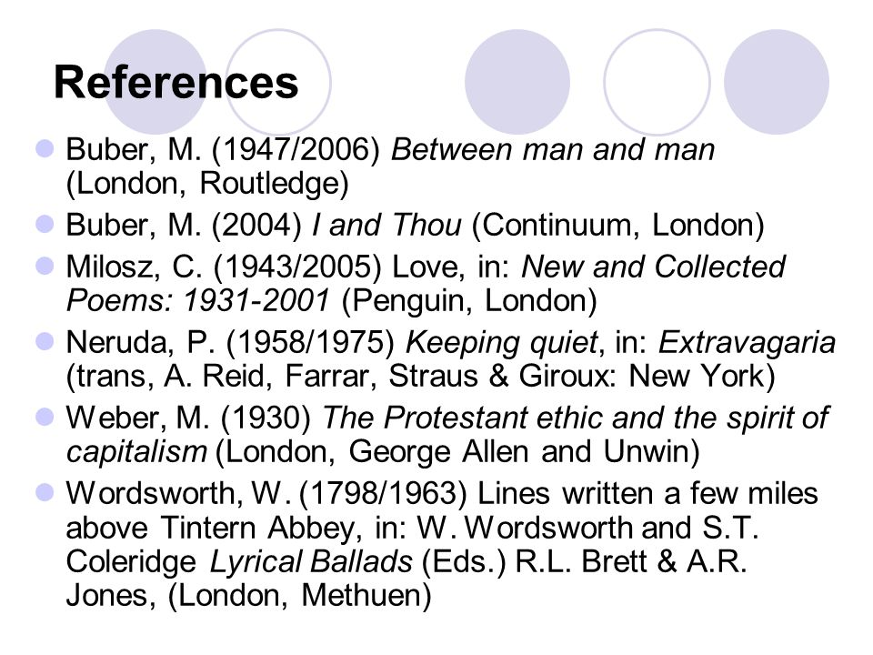 References Buber, M. (1947/2006) Between man and man (London, Routledge) Buber, M.