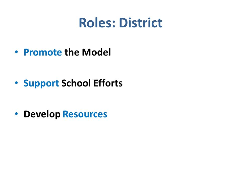 Roles: District Promote the Model Support School Efforts Develop Resources