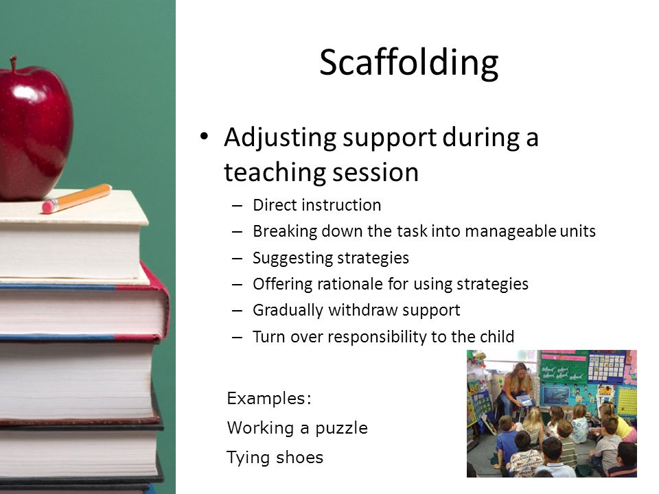 Scaffolding Adjusting support during a teaching session – Direct instruction – Breaking down the task into manageable units – Suggesting strategies – Offering rationale for using strategies – Gradually withdraw support – Turn over responsibility to the child Examples: Working a puzzle Tying shoes