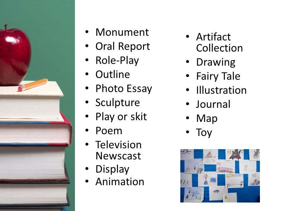 Monument Oral Report Role-Play Outline Photo Essay Sculpture Play or skit Poem Television Newscast Display Animation Artifact Collection Drawing Fairy Tale Illustration Journal Map Toy