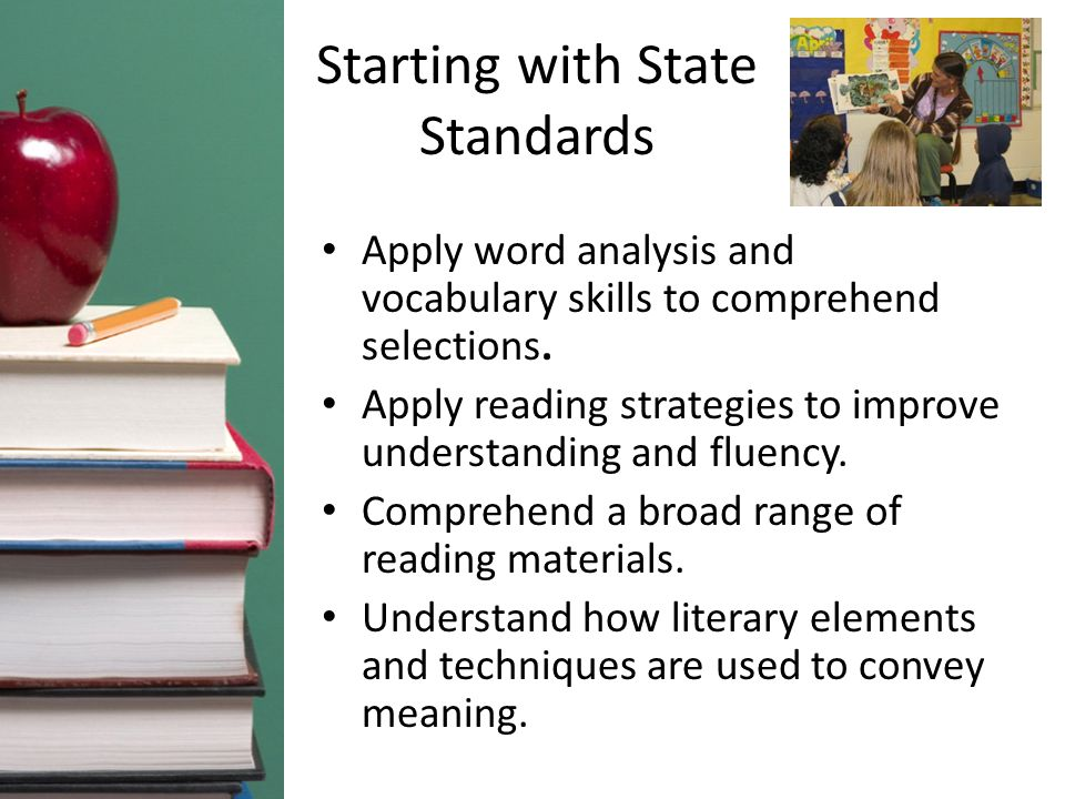 Starting with State Standards Apply word analysis and vocabulary skills to comprehend selections. Apply reading strategies to improve understanding an