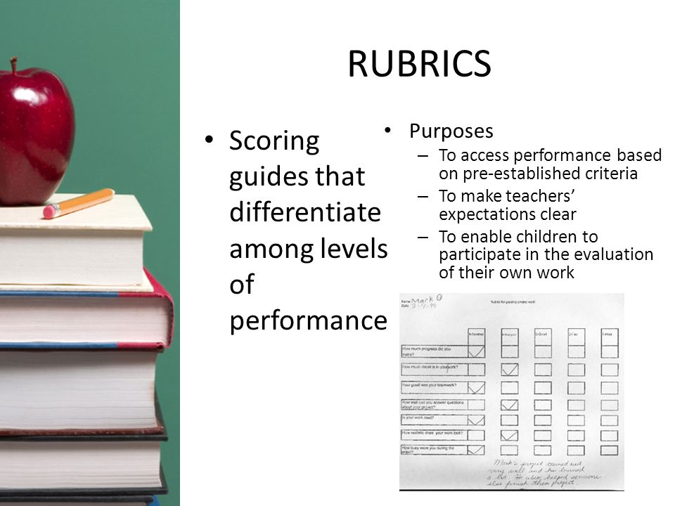 RUBRICS Scoring guides that differentiate among levels of performance Purposes – To access performance based on pre-established criteria – To make teachers' expectations clear – To enable children to participate in the evaluation of their own work