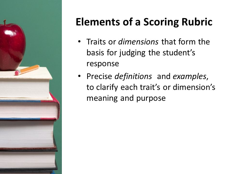 Elements of a Scoring Rubric Traits or dimensions that form the basis for judging the student's response Precise definitions and examples, to clarify