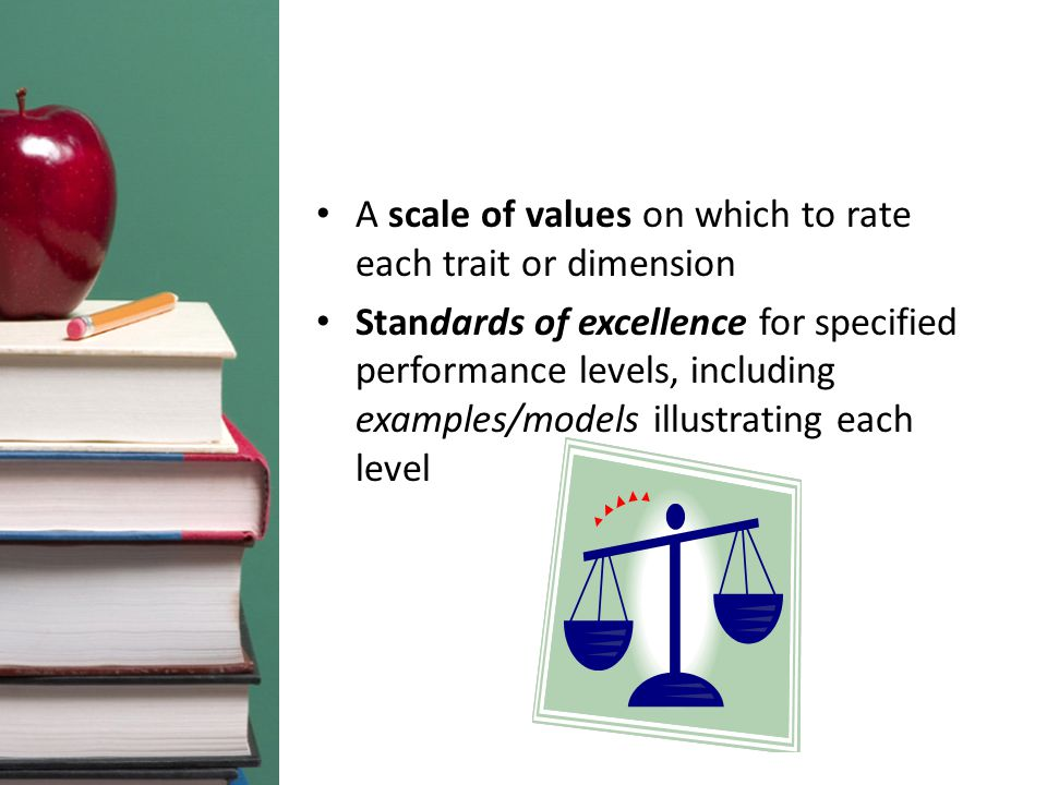 A scale of values on which to rate each trait or dimension Standards of excellence for specified performance levels, including examples/models illustrating each level