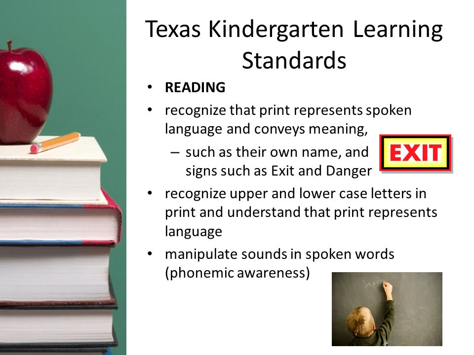 Texas Kindergarten Learning Standards READING recognize that print represents spoken language and conveys meaning, – such as their own name, and signs