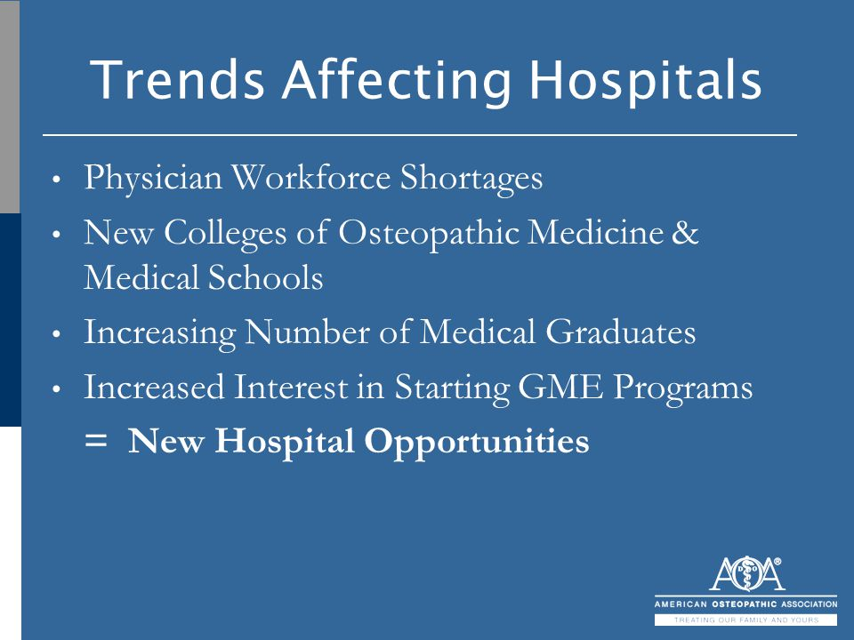Trends Affecting Hospitals Physician Workforce Shortages New Colleges of Osteopathic Medicine & Medical Schools Increasing Number of Medical Graduates