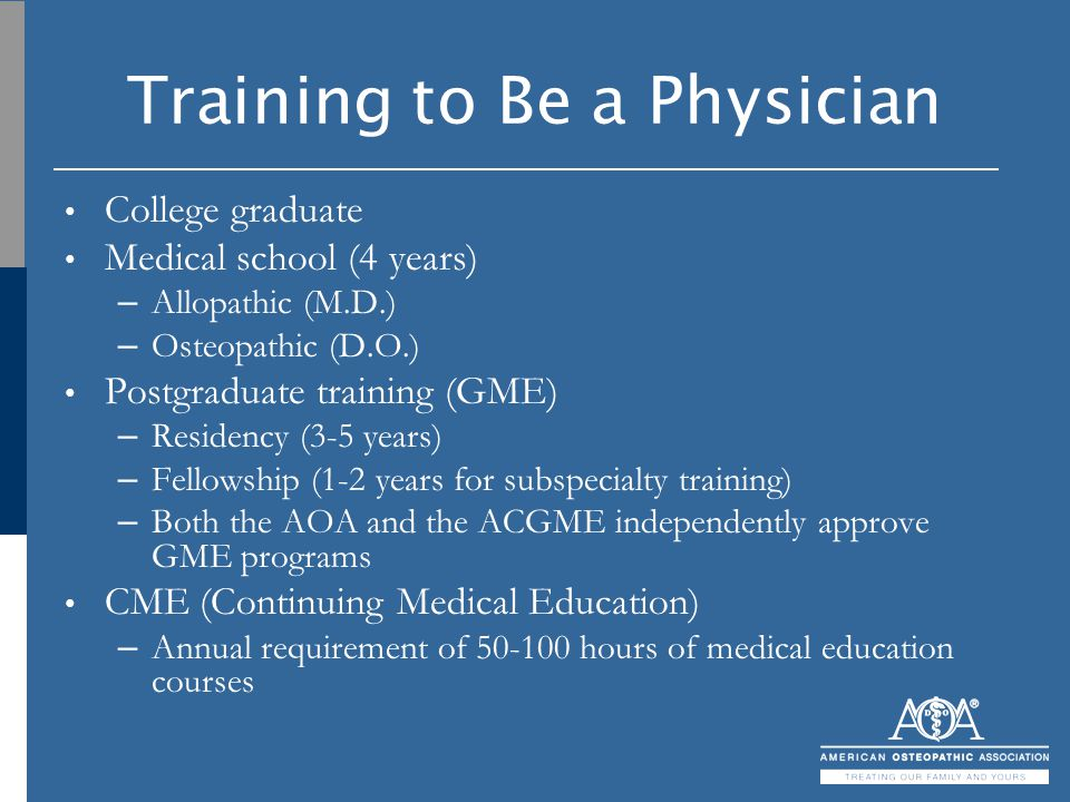 Training to Be a Physician College graduate Medical school (4 years) – Allopathic (M.D.) – Osteopathic (D.O.) Postgraduate training (GME) – Residency