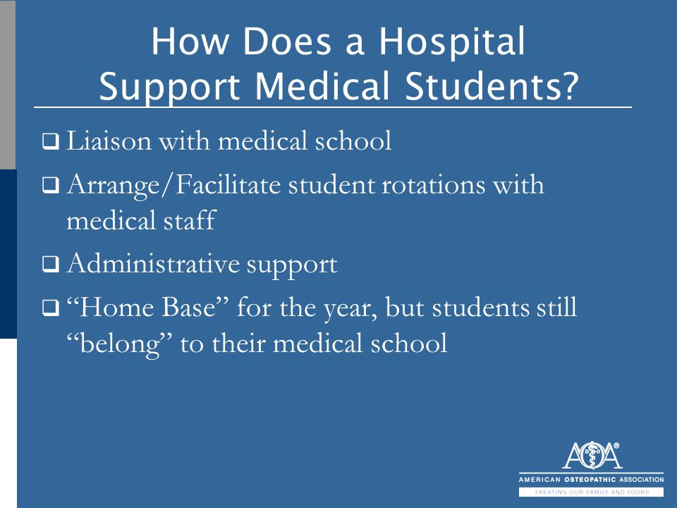 How Does a Hospital Support Medical Students?  Liaison with medical school  Arrange/Facilitate student rotations with medical staff  Administrative