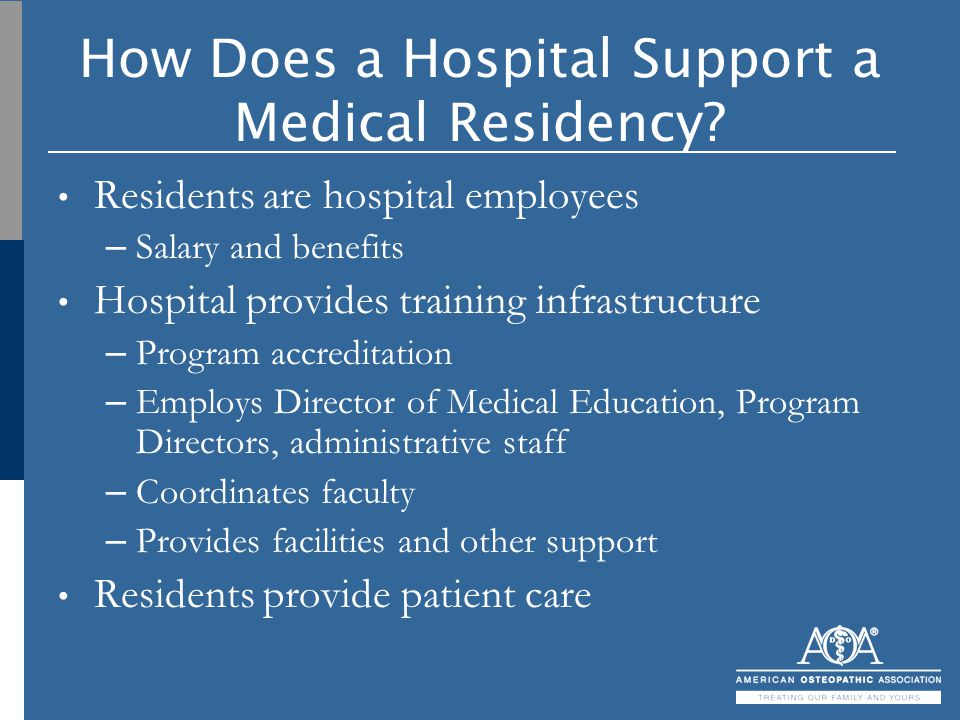 How Does a Hospital Support a Medical Residency? Residents are hospital employees – Salary and benefits Hospital provides training infrastructure – Pr