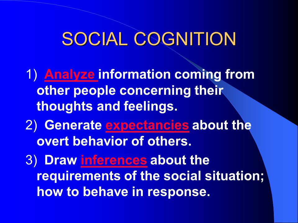 SOCIAL COGNITION 1) Analyze information coming from other people concerning their thoughts and feelings.