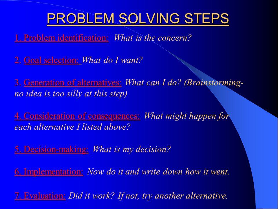 PROBLEM SOLVING STEPS 1. Problem identification: 1.