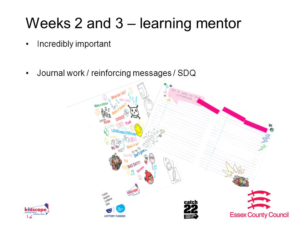 Weeks 2 and 3 – learning mentor Incredibly important Journal work / reinforcing messages / SDQ 12