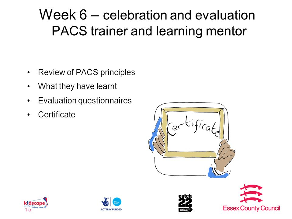 Week 6 – celebration and evaluation PACS trainer and learning mentor Review of PACS principles What they have learnt Evaluation questionnaires Certificate 15