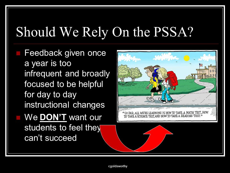 cgoldsworthy Should We Rely On the PSSA.