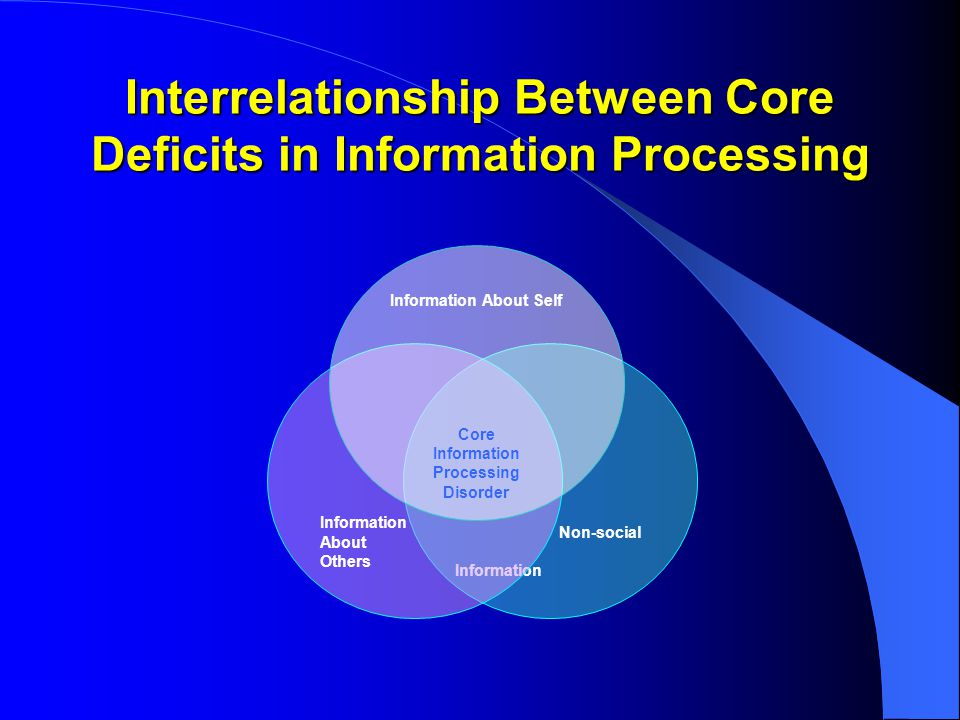 Interrelationship Between Core Deficits in Information Processing Non-social Information Information About Others Information About Self Core Information Processing Disorder