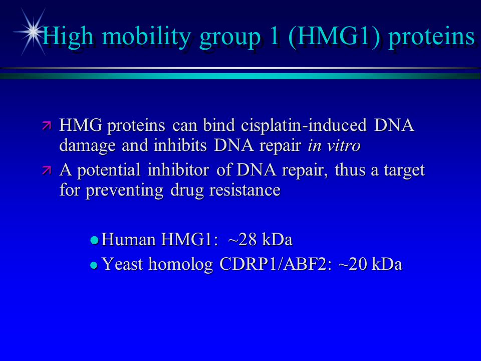 High mobility group 1 (HMG1) proteins ä HMG proteins can bind cisplatin-induced DNA damage and inhibits DNA repair in vitro ä A potential inhibitor of
