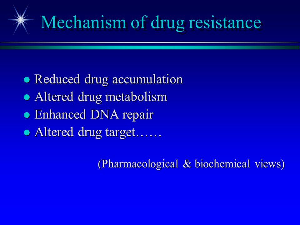 Mechanism of drug resistance l Reduced drug accumulation l Altered drug metabolism l Enhanced DNA repair l Altered drug target…… (Pharmacological & bi