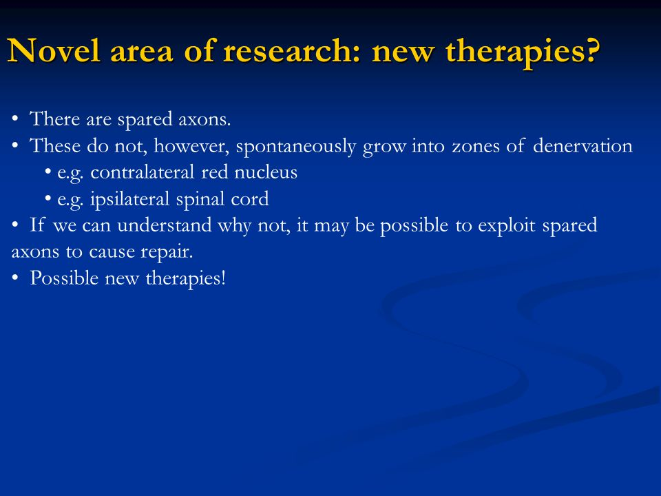 Novel area of research: new therapies? There are spared axons. These do not, however, spontaneously grow into zones of denervation e.g. contralateral