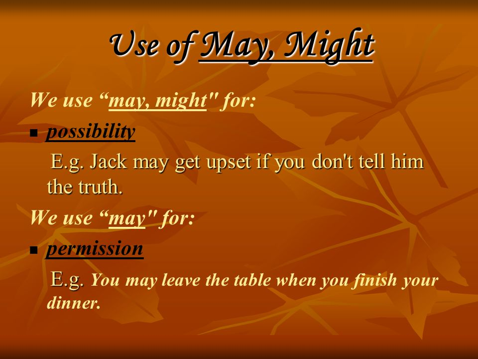 Use of May, Might We use may, might for: possibility E.g.