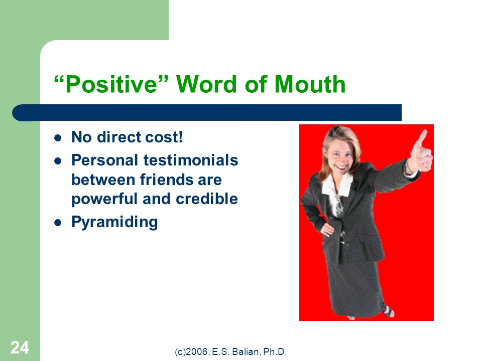 """(c)2006, E.S. Balian, Ph.D. 23 P4: PROMOTION """"Promotion"""" includes two basic actions: Advertising and/or, Publicity Specific actions may include: Press"""