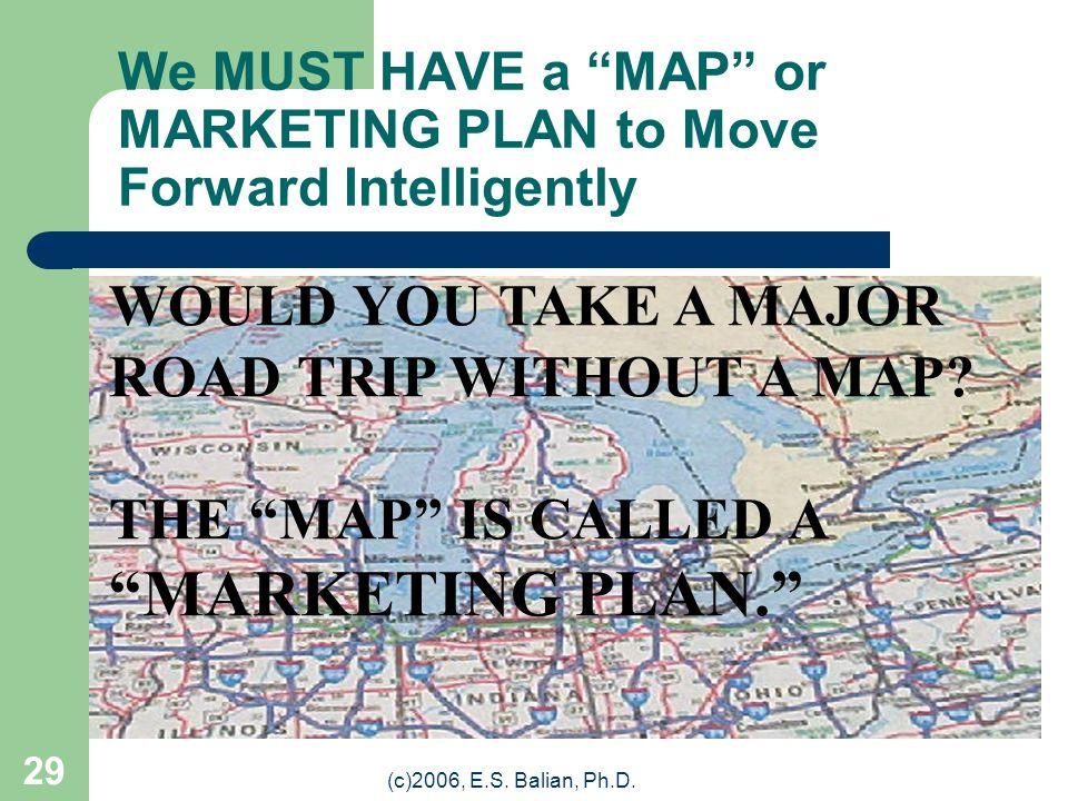 (c)2006, E.S. Balian, Ph.D. 28 Until You Have A Marketing Plan….