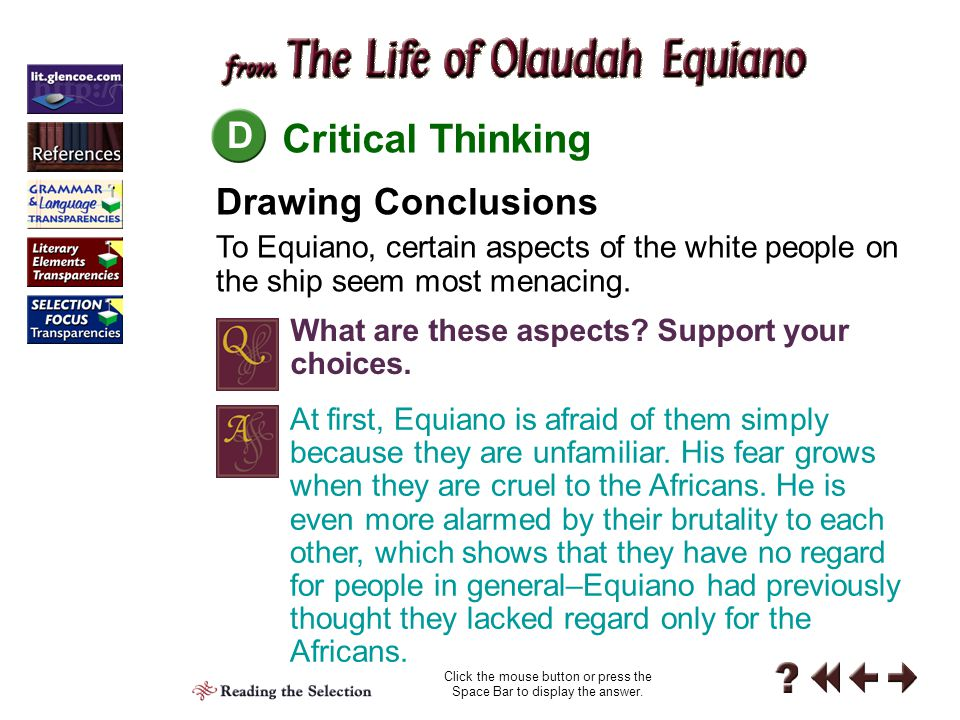 Literary Elements Reading 5-C C Mood Although mood is usually considered an element of fiction, Equiano's autobiography definitely conveys a particular mood.