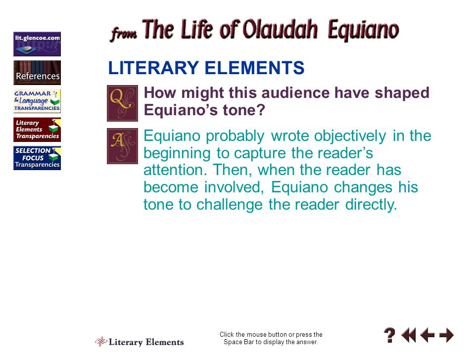 Literary Elements 5-2 LITERARY ELEMENTS Click the mouse button or press the Space Bar to display the answer.