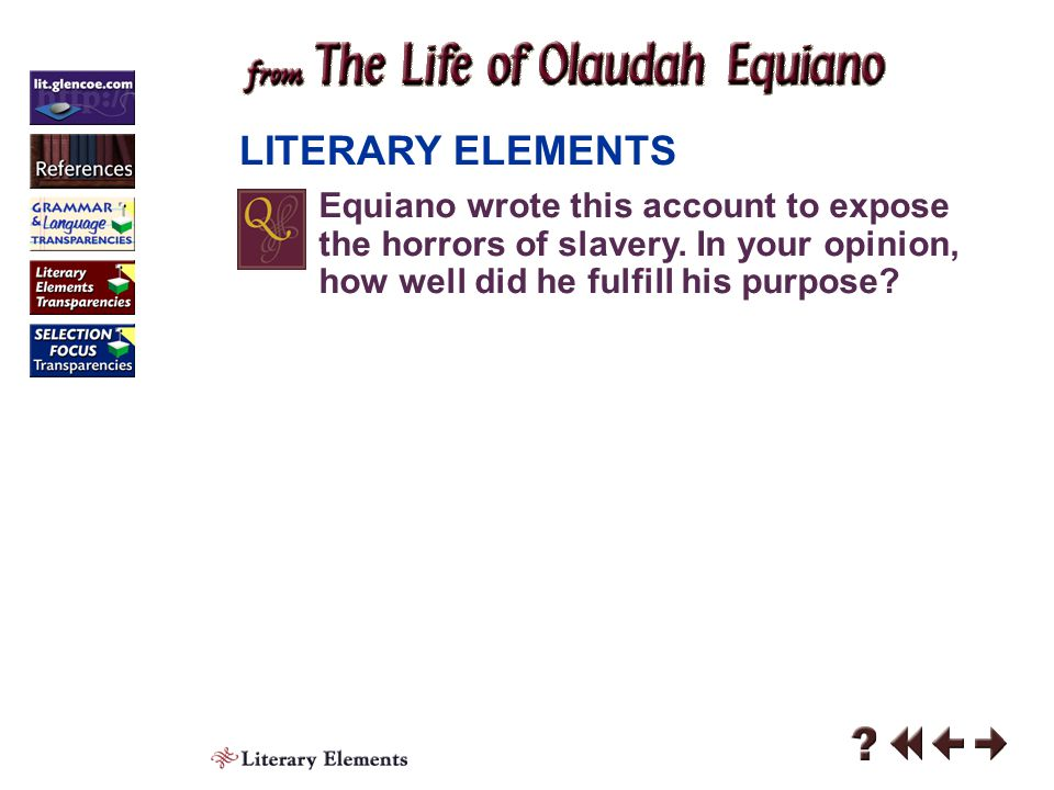 Literary Elements 5-3 LITERARY ELEMENTS Click the mouse button or press the Space Bar to display the answer.