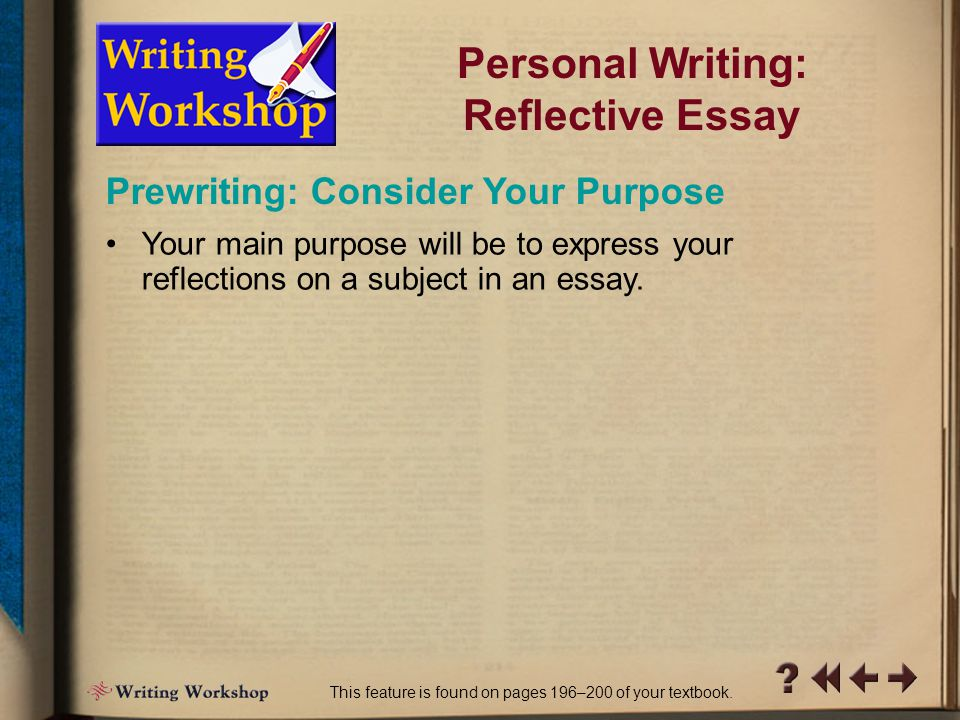 PW Writing Workshop 6 Personal Writing: Reflective Essay You might want to express your thoughts by writing a column for your school newspaper, a letter to the editor of a local publication, or simply a journal entry.
