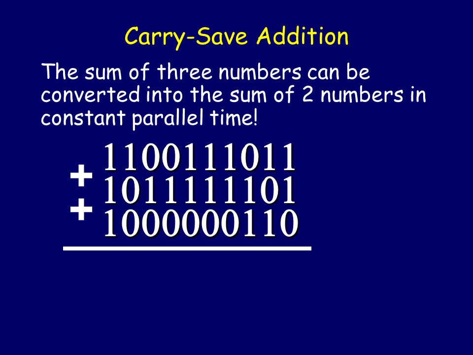 Yes, but first a neat idea… Instead of adding two numbers to make one number, let's think about adding 3 numbers to make 2 numbers.