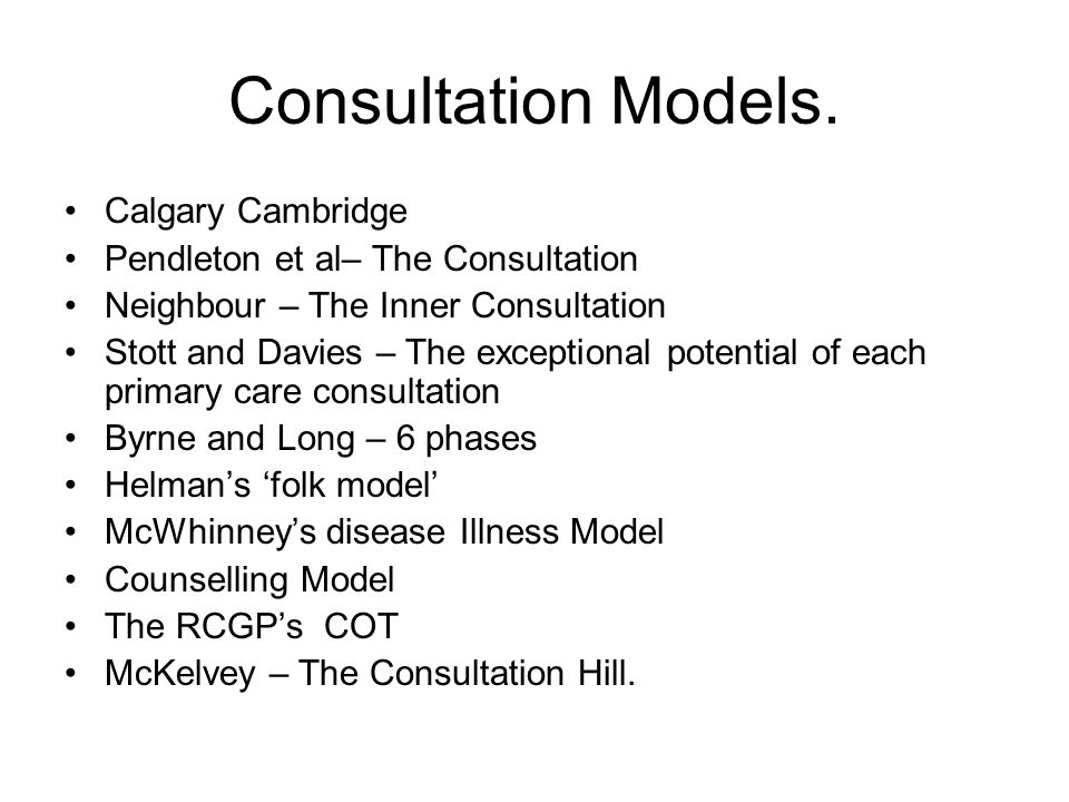 Consultation Models. Calgary Cambridge Pendleton et al– The Consultation Neighbour – The Inner Consultation Stott and Davies – The exceptional potenti