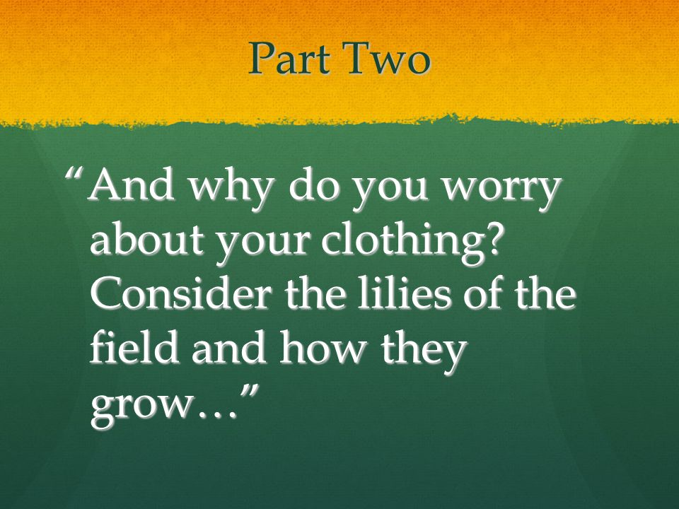 "Part Two ""And why do you worry about your clothing? Consider the lilies of the field and how they grow…"""