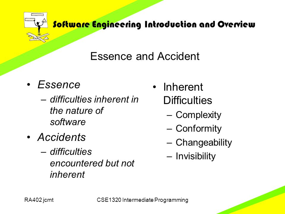 Software Engineering Introduction and Overview RA402 jcmtCSE1320 Intermediate Programming Essence and Accident Inherent Difficulties –Complexity –Conformity –Changeability –Invisibility Essence –difficulties inherent in the nature of software Accidents –difficulties encountered but not inherent