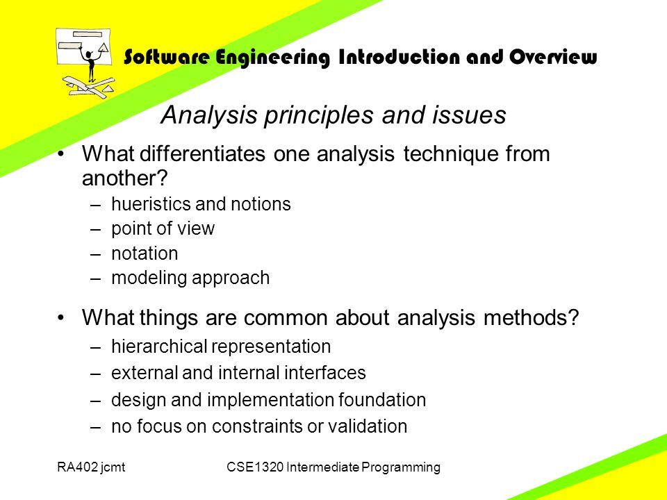 Software Engineering Introduction and Overview RA402 jcmtCSE1320 Intermediate Programming Analysis principles and issues What differentiates one analysis technique from another.