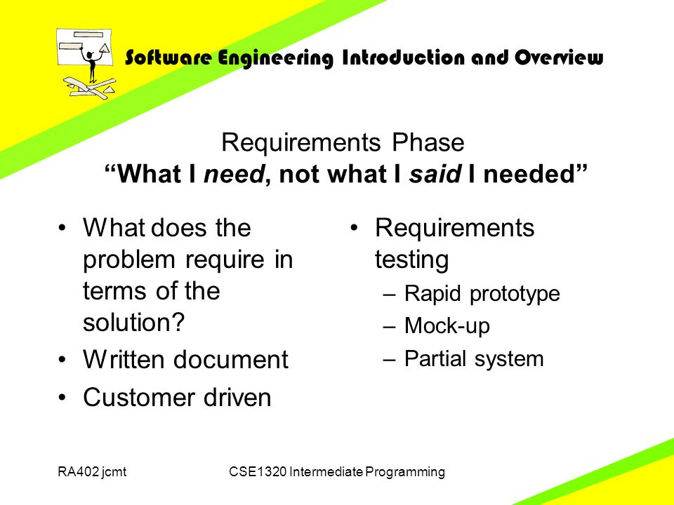 Software Engineering Introduction and Overview RA402 jcmtCSE1320 Intermediate Programming Requirements Phase What I need, not what I said I needed What does the problem require in terms of the solution.