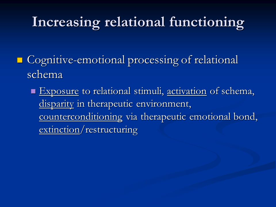 Increasing relational functioning Cognitive-emotional processing of relational schema Cognitive-emotional processing of relational schema Exposure to relational stimuli, activation of schema, disparity in therapeutic environment, counterconditioning via therapeutic emotional bond, extinction/restructuring Exposure to relational stimuli, activation of schema, disparity in therapeutic environment, counterconditioning via therapeutic emotional bond, extinction/restructuring