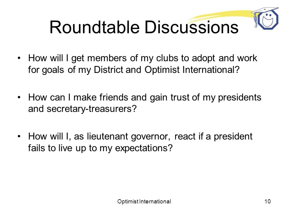 Optimist International9 What resources will you need during the coming year.