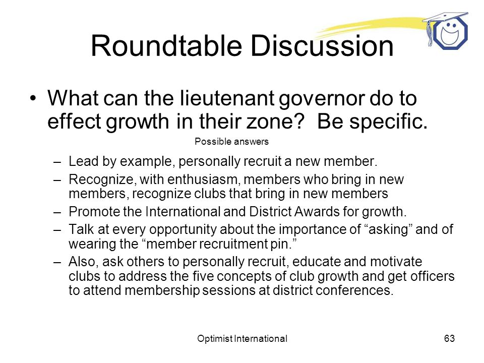 Optimist International62 Roundtable Discussion What can the lieutenant governor do to effect growth in their zone.