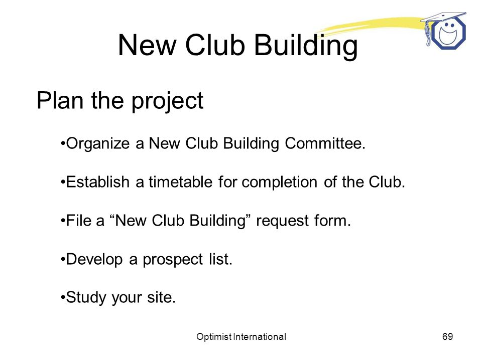 Optimist International68 New Club Building Get Started Make a commitment.