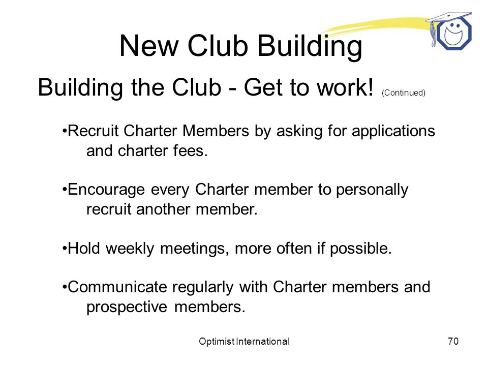 Optimist International69 New Club Building Plan the project Organize a New Club Building Committee.