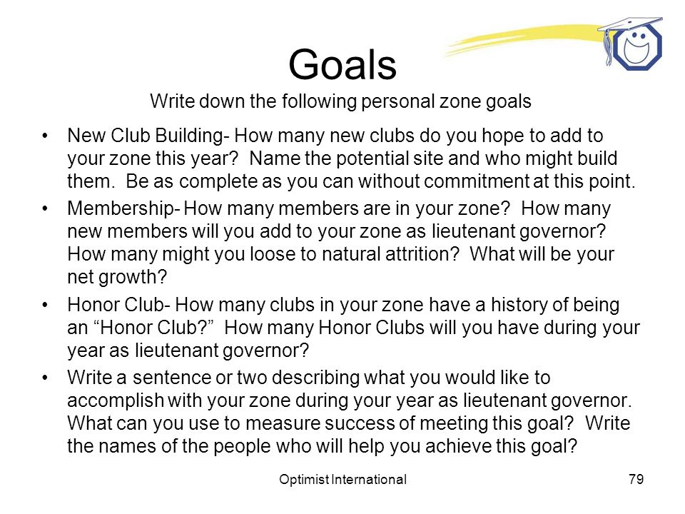 Optimist International78 Goals Write down your goals for determining a direction for your year as lieutenant governor.