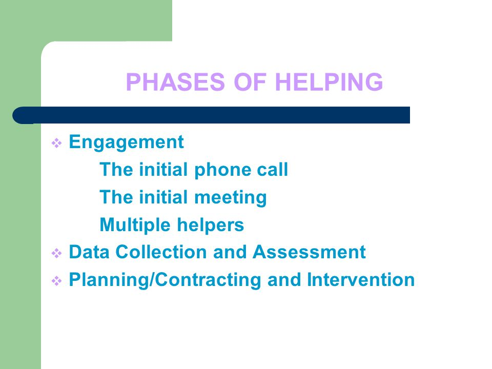PHASES OF HELPING  Engagement The initial phone call The initial meeting Multiple helpers  Data Collection and Assessment  Planning/Contracting and Intervention