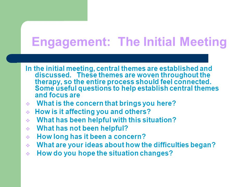 Engagement: The Initial Meeting In the initial meeting, central themes are established and discussed.