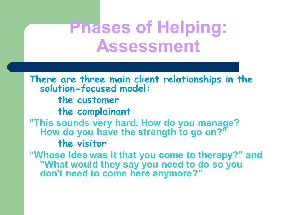 Phases of Helping: Assessment There are three main client relationships in the solution-focused model: the customer the complainant This sounds very hard.